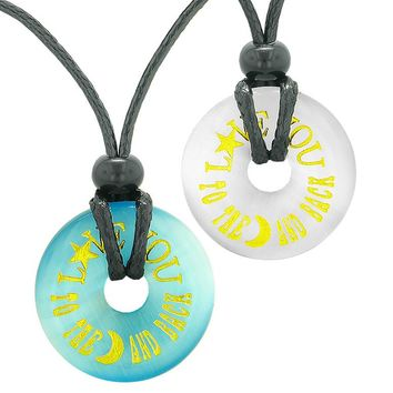 Love You to the Moon and Back Couples Best Friends Amulets Blue White Simulated Cats Eye Necklaces