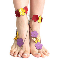 Flower butterfly barefoot sandals, barefoot beach genuine leather boho anklet, hippie sandals, foot jewelry, toe thong, festival accessories
