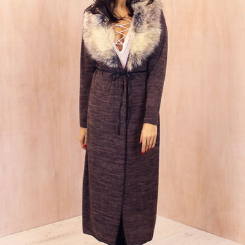 Maxi Length Fur Collar Spacedye Cardigan with Belt in Mocha Brown