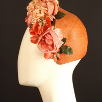 1950s Coral & Pink Floral Straw Hat