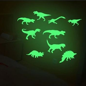 9pcs/lot Dinosaurs Glow In The Dark Toys Stickers Ceiling Decal Baby Kid Room PVC Sticker Home Toys for Children Kids Gift