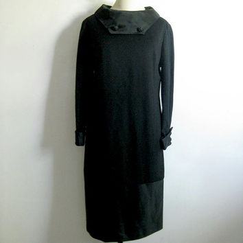 Vintage 1960s Cocktail Dress Evening Black Wool Satin Rhinestone Dress Medium