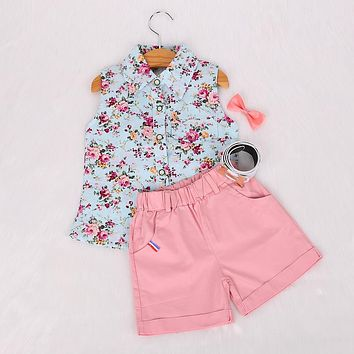 Kids clothes girls summer girls clothing sets costume for kids Floral girl shirts+shorts clothing sets