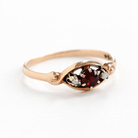 Antique 10k Rose Gold Garnet & Seed Pearl Ring- Vintage Size 6 3/4 Late 1800s Victorian Era Red Gemstone Fine Jewelry