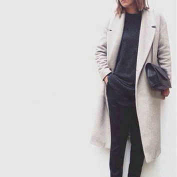 Girl Women Full Length Long Loose Trench Warm Winter Military Coat Outwear