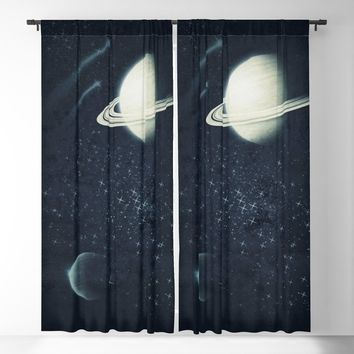 Deep Blue Space Blackout Curtain by duckyb