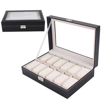 Large Watch Display Case Jewelry Box Leather Glass 12 Slots Men Black NEW