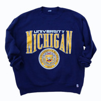 University of Michigan Crewneck Sweatshirt - University of Michigan Wolverines - Gift for Him - College Crewneck - Gift for Alumni