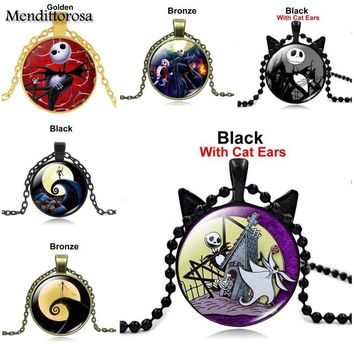 Mendittorosa The Nightmare Before Christmas Brand Necklace Pendant Glass Necklace Silver Necklace For Women