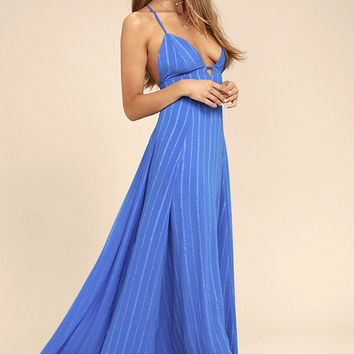 Elevate Blue Embroidered Maxi Dress