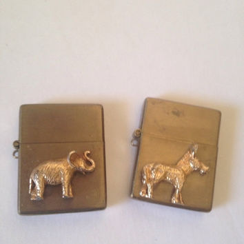 Election Vintage Donkey Elephant Mini Lighters Political GOP Collectible.