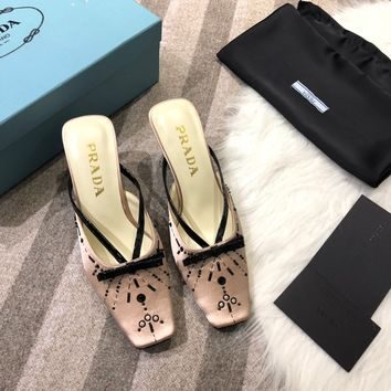 PRADA Women Fashion slipper Toe High Heels Shoes Pink