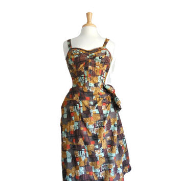 Vintage 1950s Dress Summer Hawaiian - Made in Honolulu by Kahala - Abstract Geometric Print - Wrap Style - S