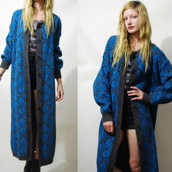 80s Vintage CARDIGAN Sweater Oversized Long Length Electric Blue Fluffy Grunge Abstract Geometric Knit Knitted Jacket vtg Maxi S M L