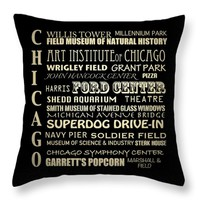 "Chicago Illinois Throw Pillow 14"" x 14"""