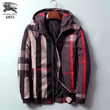Burberry discount winter men's fashion red square plus cotton down jacket / red strip horizontal