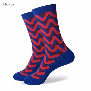 Match-Up ColorfulSOCK fun men's Cotton Socks Wedding Anchor Socks US size(7.5-12)