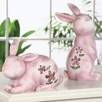 """4 Easter Bunny Figures - 9.06 """" H X 3.74 """" W X 6.1 """" D"""