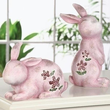 "4 Easter Bunny Figures - 9.06 "" H X 3.74 "" W X 6.1 "" D"