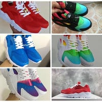 2017 New Air Huarache Sky Blue Rainbow Red White Inkjet Running Shoes For Men & Women, Lightweight Huaraches Athletic Sport Trainers 36-46
