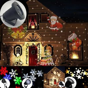 1PC Projection Lamp Outdoor LED Lights Moving Laser Projector Garden Landscape Christmas Decorations For Home New Year Decor S4