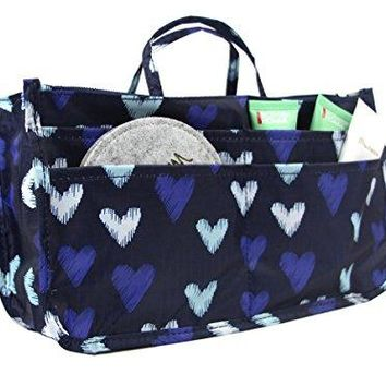 SHIP BY USPS: Micom Cute Printing Expandable 13 Pocket Handbag Insert Purse Cosmetic Bag Organizer with Handles for Women (Big Heart)