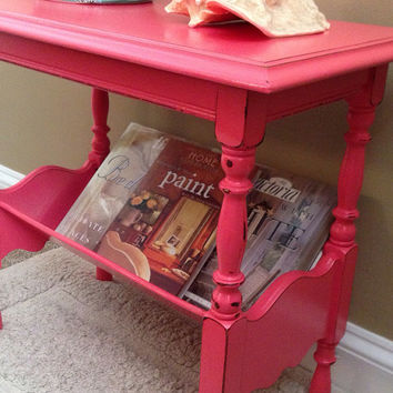 Antique Side Table Book Shelf Hand Painted and Distressed in Coral