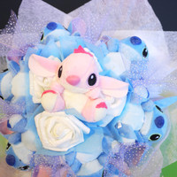 Handmade Stitch Doll Flower Bouquet. Romantic and Cute cartoon birthday gift.