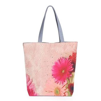 Floral Hand-Painted Tote Shopping Beach Canvas Bags