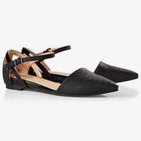 Textured D'orsay Flat With Crisscross Ankle Strap from EXPRESS