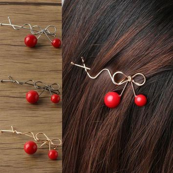 PEAPGC3 2 PCS Charming Women Girls Ladies Korean Red Cherry Shaped Bow Hairpin Twist Hair Clip Headdress Hair Accessories