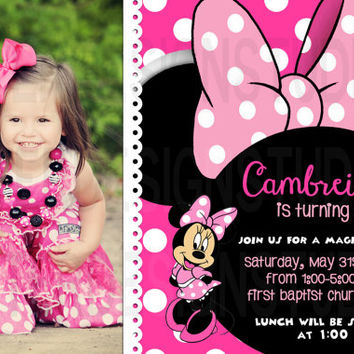 Minnie Mouse Birthday Invitation - Printable Digital file