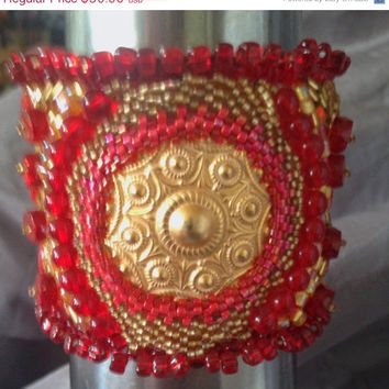ON SALE Beaded Cuff, Red, Gold, Roman Style,Gold Medallion