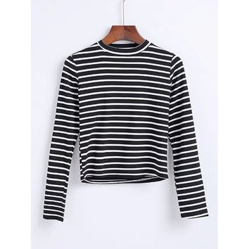 Crew Neck Striped Tee Black and White