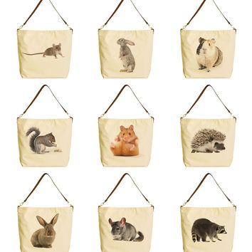 Rodent Family Beige Printed Canvas Tote Bag with Leather Strap WAS_29