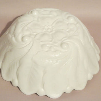 Wild Rose Milk Glass Bowl - Vintage Indiana Glass - White Flower