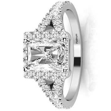 .1.35 Ctw 14K White Gold GIA Certified Radiant Cut Halo Style Double Row Pave Split Shank Diamond Engagement Ring, 1 Ct G-H VS1-VS2 Center