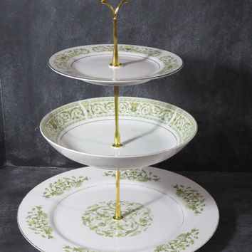 3 Tier China Plate Stand, Tiered Tea Stand, Wedding Plate Stand, Cake Stand, Tiered Pastry Server, Cookie Plate, Appetizer Server 86