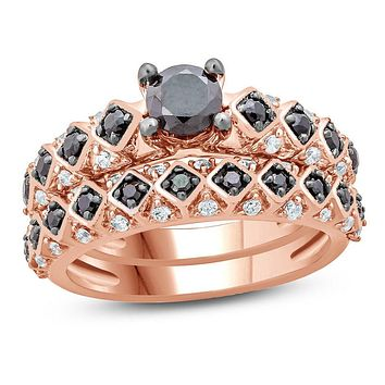 1 CT. T.W. Enhanced Black and White Diamond Tilted Square Shank Bridal Engagement Ring Set in 14K Rose Gold