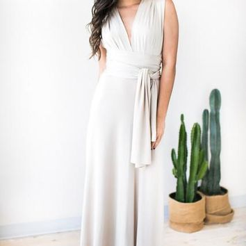 Smooth like Silk Convertible Maxi Dress - Champagne