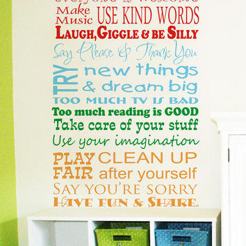 Childrens Decor Playroom Rules Vinyl Wall Art   Playroom Vinyl Wall Decals    Childrens Playroom Wall