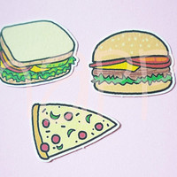 Food Die cuts 15 pcs. Hamburger pizza sandwich die cut , paper die cuts ,making card, cut out decoration scrapbook /paper craft