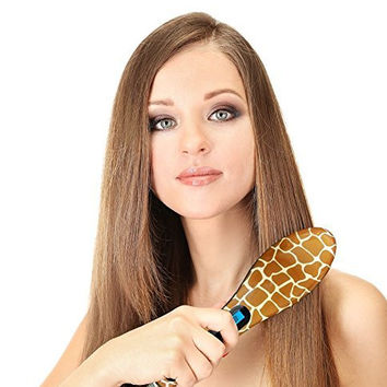 Animal Printed Instant Hair Straightner - LED Detangling Hair Brush - Fast Natural Straight Hair Styling The Funky Way (Giraffe)