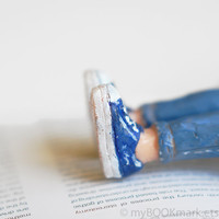 Legs in the book. Navy blue sneakers and blue jeans bookmark .Girly legs. Funny children gift, for her, him, kids, all, teacher.