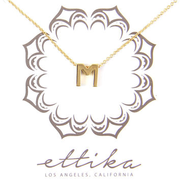 Initial M Charm Necklace in Gold