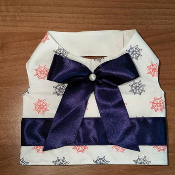 Dog vest - handmade dog clothes - casual dog vest -cute blue bow vest for dogs - custom made dog clothes - chihuahua clothes