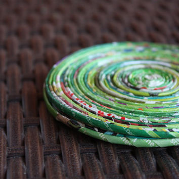 Green Recycled Paper Coasters - Set of 2