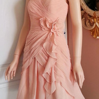 Blush Pink Bridesmaid Dress - Chiffon Dress (Plus Size Available)