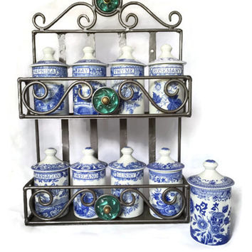 Vintage Iron Spice Rack with 9 Nine Spodes Spice Jars,  Cottage Chic, Home Decor, Wall Display, Kitchen Decor