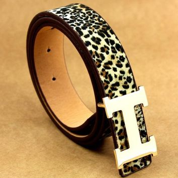 DCCKR2 HERMES men and women models young wild fashion wild belt Leopard